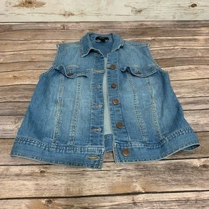 Forever 21 Blue Jean Button Down Vest